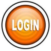 Login orange glossy icon isolated on white background — Stock Photo