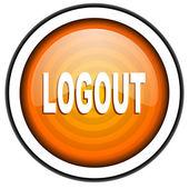 Logout orange glossy icon isolated on white background — Stock Photo