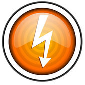 Lightning orange glossy icon isolated on white background — Stock Photo