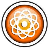 Atom orange glossy icon isolated on white background — Stock Photo