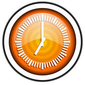 Clock orange glossy icon isolated on white background — ストック写真