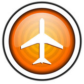 Airplane orange glossy icon isolated on white background — Stock Photo
