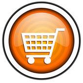 Shopping cart orange glossy icon isolated on white background — Stock Photo