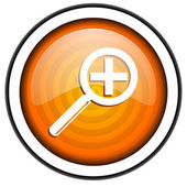 Magnification orange glossy icon isolated on white background — Stock Photo