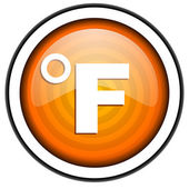 Fahrenheit orange glossy icon isolated on white background — Stock Photo