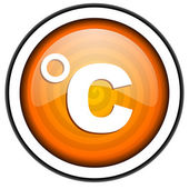 Celsius orange glossy icon isolated on white background — Stock Photo