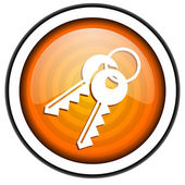 Keys orange glossy icon isolated on white background — Stock Photo