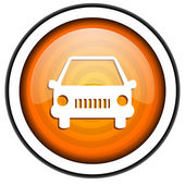 Car orange glossy icon isolated on white background — Stock Photo