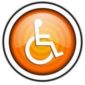 Accessibility orange glossy icon isolated on white background — Stock Photo
