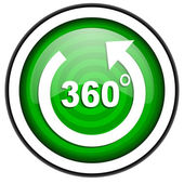 360 degrees panorama green glossy icon isolated on white background — Stock Photo