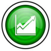 Histogram green glossy icon isolated on white background — Stock Photo
