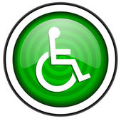 Accessibility green glossy icon isolated on white background — Stock Photo