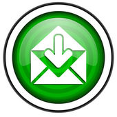 Mail green glossy icon isolated on white background — Stock Photo