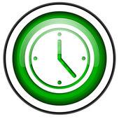 Icono brillante reloj verde aislado sobre fondo blanco — Foto de Stock