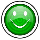 Smile green glossy icon isolated on white background — Stock Photo