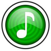 Beyaz arka plan üzerinde izole müzik yeşil parlak simgesi — Stok fotoğraf