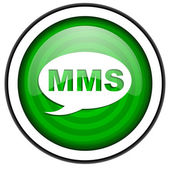 Mms green glossy icon isolated on white background — 图库照片