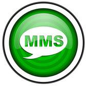 Mms groene glanzende pictogram geïsoleerd op witte achtergrond — Stockfoto