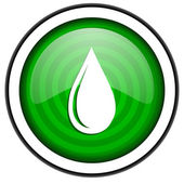 Water drop green glossy icon isolated on white background — Stock Photo