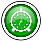 Alarm clock green glossy icon isolated on white background — Stock Photo