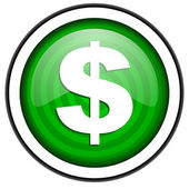 Us dollar green glossy icon isolated on white background — Stock Photo
