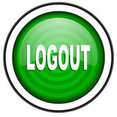 Logout green glossy icon isolated on white background — Stock Photo