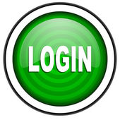Login green glossy icon isolated on white background — Stock Photo