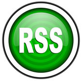 Rss green glossy icon isolated on white background — Stock Photo