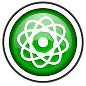Atom green glossy icon isolated on white background — Stock Photo
