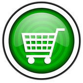 Shopping cart green glossy icon isolated on white background — Stock Photo