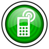 Cellphone green glossy icon isolated on white background — Stock Photo