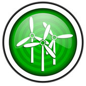Windmill green glossy icon isolated on white background — Stock Photo