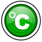 Celsius green glossy icon isolated on white background — Stock Photo
