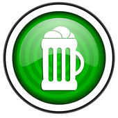 Beer green glossy icon isolated on white background — Stock Photo
