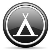 Camping black glossy icon on white background — Stock Photo