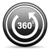 360 degrees panorama black glossy icon on white background — Stock Photo