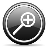 Magnification black glossy icon on white background — Stock Photo