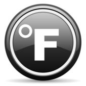 Fahrenheit black glossy icon on white background — Stock Photo