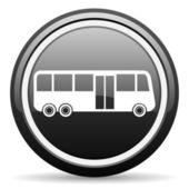 Bus black glossy icon on white background — Stock Photo