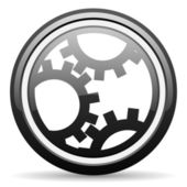 Gears black glossy icon on white background — Stock Photo