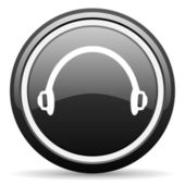 Headphones black glossy icon on white background — Stock Photo