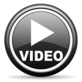 Video black glossy icon on white background — Stock Photo