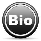 Bio black glossy icon on white background — Stock Photo