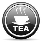 Tea black glossy icon on white background — Stock Photo