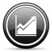 Histogram black glossy icon on white background — Stock Photo