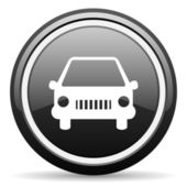 Car black glossy icon on white background — Stock Photo