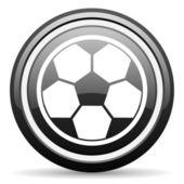 Soccer black glossy icon on white background — Stock Photo