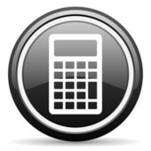 Calculator black glossy icon on white background — Zdjęcie stockowe