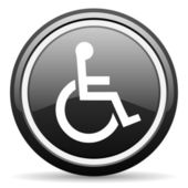 Accessibility black glossy icon on white background — Stock Photo