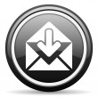Mail black glossy icon on white background — Stock Photo